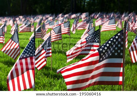 EAST HANOVER, PA - MAY 24: Flags at Indiantown Gap National Cemetery on May 24, 2014 in East Hanover, PA. They represent nearly 7,000 military service members who sacrificed their lives since 9/11.