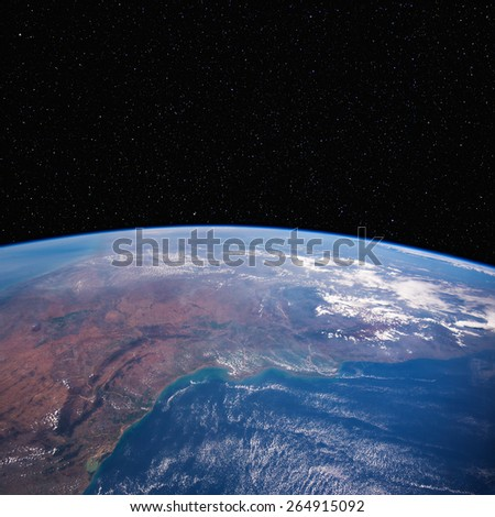 East India (Andhra Pradesh) from space with stars above. Chennai is on the coast  just off the bottom of the image. Elements of this image furnished by NASA.  - stock photo