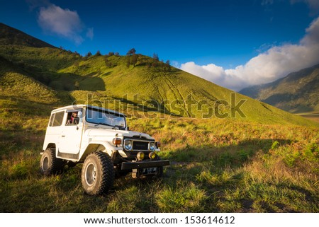 EAST JAVA,INDONESIA-MAY 05 : Tourists Jeep for tourist rent at Mount Bromo,The active Mount Bromo is one of the most visited tourist attractions on May 05,2013 in East Java , Indonesia. - stock photo