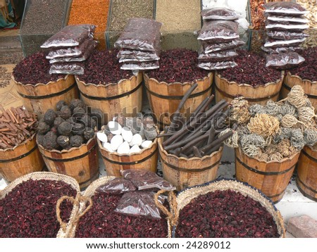 East market, sale of spices and tea - stock photo
