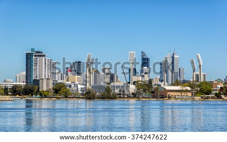East Pert from Burswood - stock photo