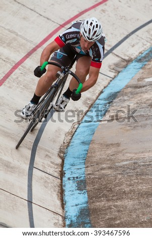 EAST POINT, GA - AUGUST 29:  A cyclist sprints during his time trial at a velodrome race on August 29, 2015 in East Point, GA.