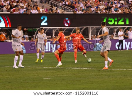 East Rutherford, NJ - August 7, 2018: Martin Odegaard (36) of Real MAdrid controls ball during ICC game against AS Roma at MetLife stadium Real won 2 - 1