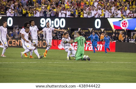 East Rutherford, NJ USA - June 17, 2016: Columbian team celebrates victory in quaterfinal game between Columbia & Peru. Columbia won 0 (4) - 0 (2) by penalty kicks - stock photo