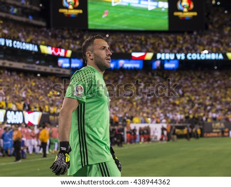East Rutherford, NJ USA - June 17, 2016: David Ospina (1) celebrates saving penalty in quaterfinal game between Columbia & Peru. Columbia won 0 (4) - 0 (2) by penalty kicks - stock photo