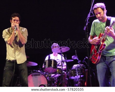 EAST TROY, WI - JUL. 24: Jack Johnson and G. Love performs during the 2010 To The Sea tour in East Troy, Wisconsin at Alpine Valley Music Theater on July 24, 2010 in East Troy, MI. - stock photo