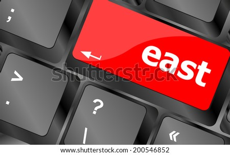 east word on computer pc keyboard key