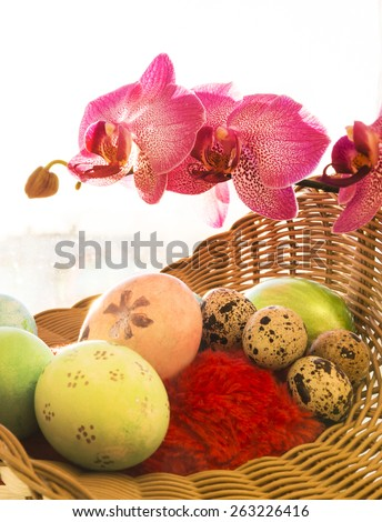 Easter and quail eggs in a basket with Orchid