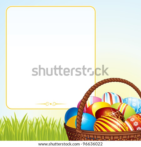 Easter Background with Colorful Eggs in Wicker Basket. - stock photo