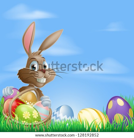 Easter background with copyspace in the sky featuring a cute Easter Bunny and lots of painted Easter Eggs - stock photo