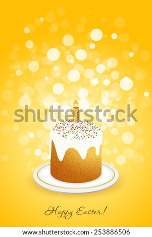 Easter Background with Decorated Cake on orange background - stock photo