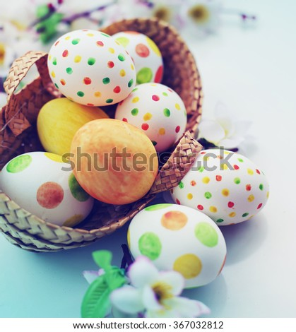 easter background with eggs  - stock photo