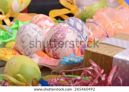 Easter background with eggs, easter ribbons,  easter spring decoration, easter holiday concept - stock photo