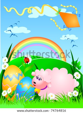 Easter background with kite flying and sheep