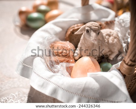 Easter basket. Easter is one of the most important Catholic holidays of the year. - stock photo