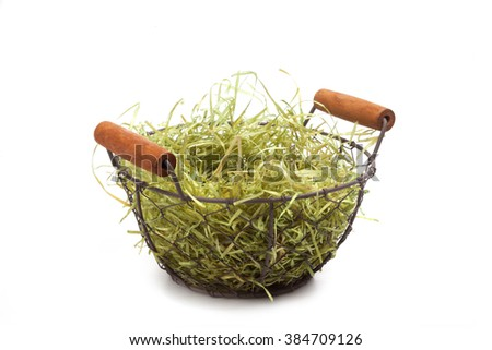 Easter Basket, series, green straw, isolated on white - stock photo
