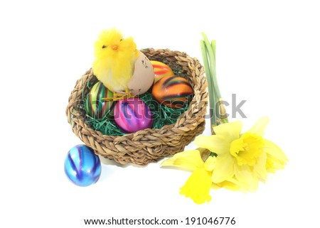 easter basket with chik