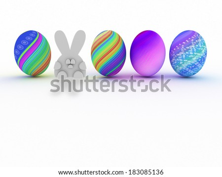 Easter bunny and colorful eggs isolated on white background. 3D render. Copy space