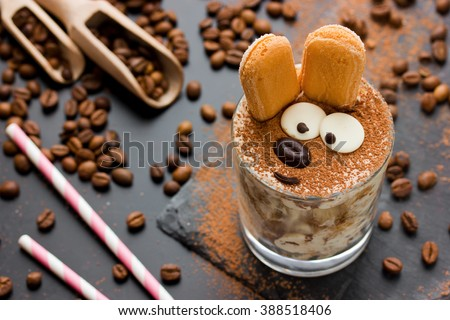 Easter bunny cake tiramisu dessert for children. Funny traditional Italian dessert serving, creative idea holiday sweet food for kids selective focuse - stock photo