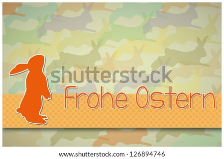 Easter Bunny card an Happy Easter wishes in german - stock photo