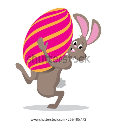 Easter bunny carrying giant egg royalty free stock illustration for greeting card, ad, promotion, poster, flier, blog, article, social media - stock photo