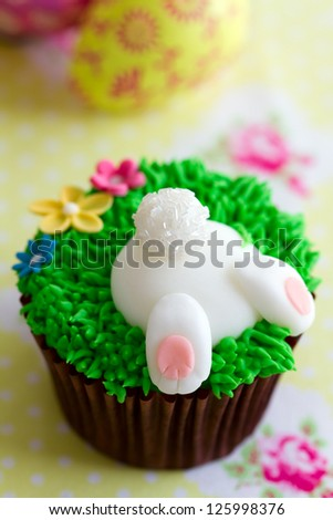 Easter bunny cupcake - stock photo