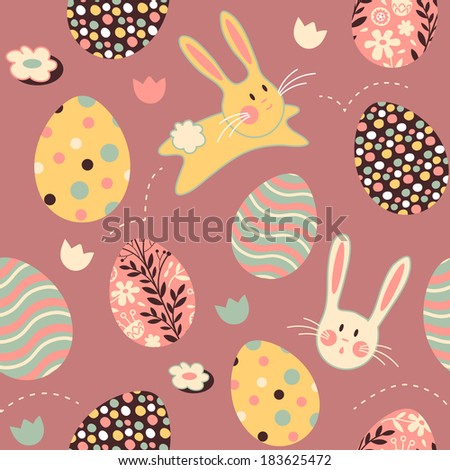 Easter Bunny Egg Pink Repeat Pattern - stock photo
