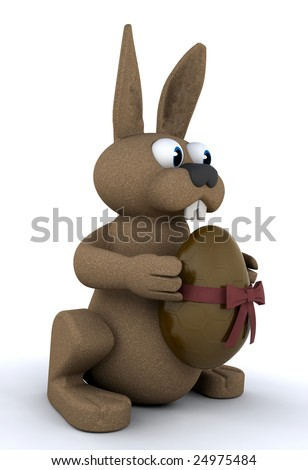 Easter bunny holding a chocolate Easter egg