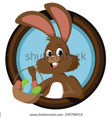 Easter bunny in circle stock illustration - stock photo