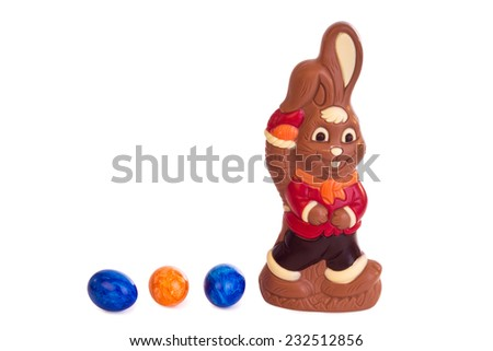 Easter bunny of chocolate - isolated on white background - stock photo