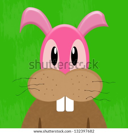 Easter bunny rabbit with serious face - stock photo