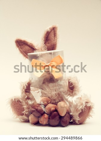 Easter bunny with bag of chocolates - stock photo