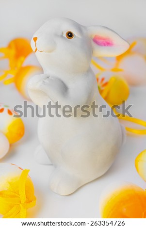 Easter bunny with Easter eggs - stock photo
