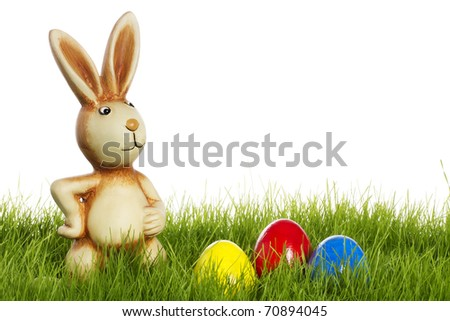 easter bunny with easter eggs in grass with white background - stock photo