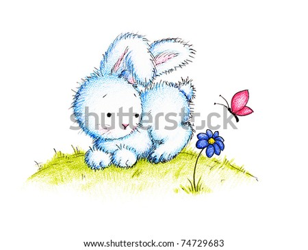 Easter bunny with flower and butterfly on green lawn - stock photo