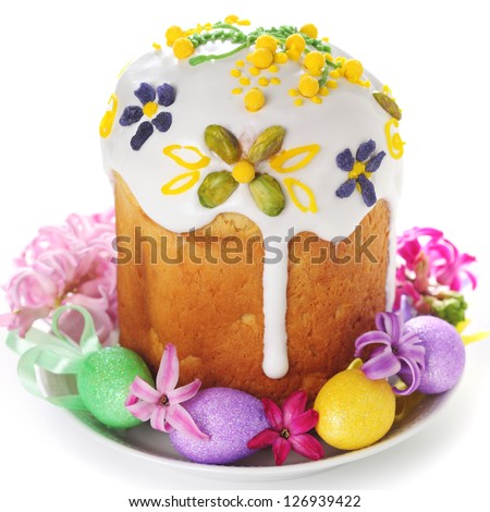 Easter cake and easter egg on isolated white background.
