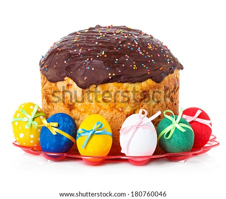 Easter cake and easter eggs isolated - stock photo