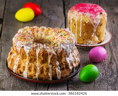 Easter cake  on a wooden background - stock photo