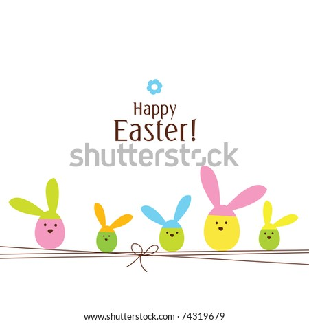 Easter card with copy space - stock photo