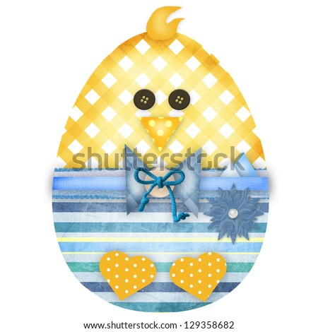 Easter chick boy isolated on white - stock photo