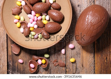 easter chocolate background - stock photo