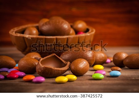 Easter chocolate background with bunny