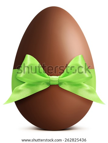 Easter chocolate egg with green bow and ribbon - stock photo