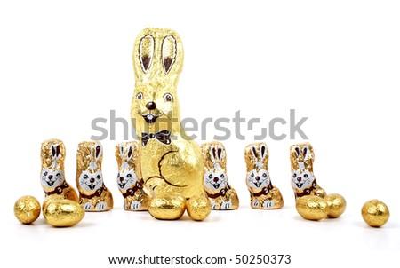 Easter chocolate rabbitt - bunny - stock photo