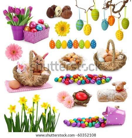 Easter collection isolated on white background