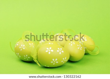 Easter colored eggs for greeting card - stock photo