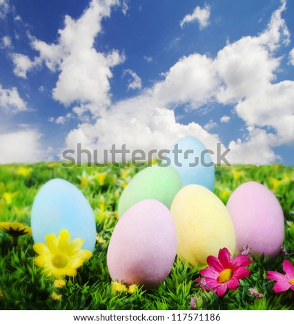 easter colorful eggs against blue sky