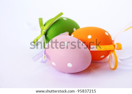 Easter colorful  eggs isolated on gray background.