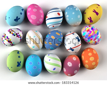 Easter colorful eggs isolated on white background. 3D render. Copy space