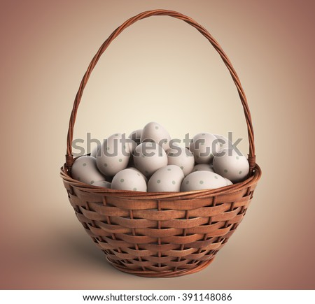 Easter concept. Basket filled with colorful eggs 3D - stock photo